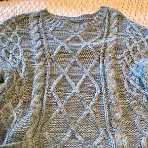 Sweaters - Chunky Oversized Cable Knit Sweater, Grey / Blue